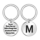 Inspiration Keychain Gift,A-Z 26 Initial Keyring Key Chain Ring for Women Men Gift (M)