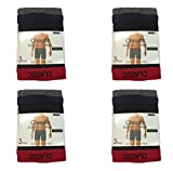 Mens Boxers (12 Pack) Classic soft rib cotton Boxers with Red waistband (XX-Large)