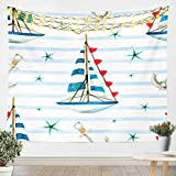 Sailboat Printed Wall Hanging Nautical Tapestry For Kids Boys Girls Children Ocean Themed Wall...