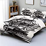 Duvet Cover Set,Nautical Line Art Style Illustration with Vintage Sailboat on Exotic...