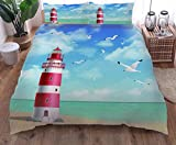 zpangg 3 Piece Bed Set Seaside Lighthouse Duvet Cover Soft Microfiber Single Double King Size Bed 3...