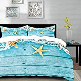 bedding - Duvet Cover Set, Starfish,Rustic Wood Boards Fishing Net and The Ocean Animals Nautical...