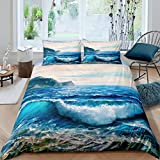 Ocean Wave Comforter Cover Set Sea Wave Surfing Duvet Cover for Kids Boys Girls Teens Nautical Style...