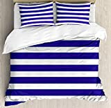 Super King Size Bedding Duvet Cover Set Striped Cover Set Nautical Marine Style Navy Blue and White...
