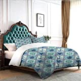 Hiiiman Bedding Cover Set 4pcs Nautical Themed Artwork with Marine Rope Starfish Wheel Anchor and...