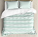 LnimioAOX Mint 3 PCS Duvet Cover Set, Horizontal Wavy Lines White Striped Abstract Soft Toned...
