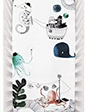 Rookie Humans 100% Cotton Sateen Fitted Crib Sheet: Underwater Love. Complements Modern Nursery, Use...