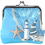 Nautical Sail Boat Lighthouse Starfish Fishnet Blue Cute Coin Purse Retro Money Pouch Small Wallet...