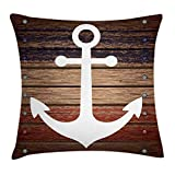 ABAKUHAUS Marine Throw Pillow Cushion Cover, Boat Themed Anchor Marine Nautical Antiqued Rustic...