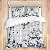 Jojun 3 Pieces Duvet Cover,Sail Boat Nautical Lighthouse and Compass Navy Blue Print,Quality Bedding...