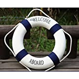 Estone Decorative Welcome Aboard Nautical Lifebuoy Ring Wall Hanging Home Decoration (Blue,...