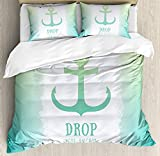 Nautical Duvet Cover Set, Anchor Icon Illustration Striped Two Colored Background Stability Symbol...