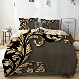 not Bedding-Duvet Cover Set,Beige,Gold and Black Leafy Flourish,Microfibre 135x200 with 2 Pillowcase...