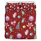 RNGIAN Soft Microfiber Printed Bedding Christmas Tree New Year Bed Set 3 Piece Bedclothes white...