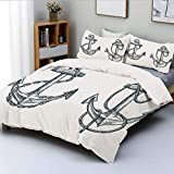 Duvet Cover Set,Vintage Sketch of Nautical Element Ship Sailing Travel Theme Artistic Chain Rope...