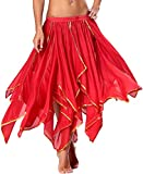 Pirate Skirt for Women Belly Dance Costume with Sequin Side Split, 13 Panel-Red, 6/8/10/12/14/16