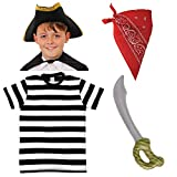 KIDS PIRATE COSTUME ACCESSORIES SET FOR KIDS. PIRATE HAT + BLACK AND WHITE COTTON T-SHIRT +...