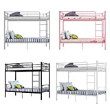 Double Bed Kids Bunk Beds 3FT Single Bed Children Metal Bed Frame With Stairs (Black)