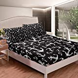 Anchor Bedding Set for Girls Boys Children Nautical Fitted Sheet Black White Ocean Marine Themed Bed...