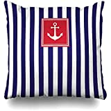 N/A Throw Pillow Covers Material Blue Nautical Marine Pattern Striped Stripe Vintage Boat Navy...