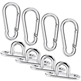 Cerixo 8Pcs Stainless Steel Oblong Pad Eye Plates and Carabiner Clips Heavy Duty for Climbing Sport...