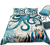 Loussiesd Octopus Sea Animals Duvet Cover Set Blue Marine Life Bedding Set King Size Soft Microfiber...