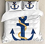 Ambesonne Navy White Duvet Cover Set, Nautical Themed Graphic of Cartoon Dark Sky Blue Colored...