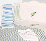 My Little World Nursery Blue Space Rocket Baby Bale Bedding Set Cot Quilt and Bumper Set - 100%...