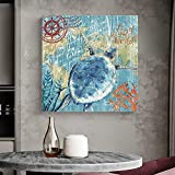 Turtle Canvas Wall Art Painting Wall Decor Nautical Theme Marine Life Series Picture Canvas Prints...