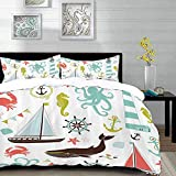bedding - Duvet Cover Set, Nautical,Pastel Colored Composition of Lighthouse Sailboat Fish Shells...