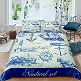 Loussiesd Nautical Bedding Set for Boys Kids Child Teens,Retro Anchor Navy Blue Man Comforter...