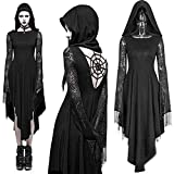 YourBoob Halloween Black Gothic Dress Steampunk Ghost Witch Costume Adult Women Lace Hooded Open...
