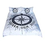 Compass Bedding Set Nautical Map Duvet Cover Navy Blue And White Bedclothes Adults Boys Cool Home...