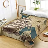 ZMK-720 Flat Sheets Bedding Compass Bed Sheets Nautical Map Flat Sheet Navy Blue and White Bed Linen...