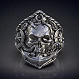Nobranded Men'S Vintage Anchor Ring Pirate Compass Tentacle Skull Ring Punk Jewelry Gift 7