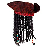 Widmann 01892 Pirate Tripound with Bandana and Dreadlocks, Men's Red/Black, One Size