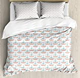 ABAKUHAUS Sailboat Duvet Cover Set, Nautical Illustration of Watercolored Marine Theme Toy...