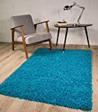 TEAL BLUE LUXURIOUS THICK SHAGGY RUGS 7 SIZES AVAILABLE 60cmx110cm (2ft x 3ft7')