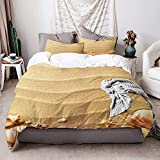 902 KIMDFACE Duvet cover,Beach Nautical Composition with Sandy Beach Frame Surrounded by Various Sea...
