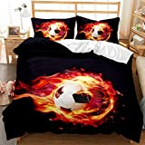 Duvet Cover Football Pattern Microfiber Quiltset with Zipper Closure Bedding Duvet Cover and 1/2...