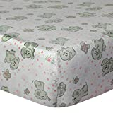 Cuddles & Cribs 1 Pack GOTS Certified Organic Cotton Fitted Crib Sheet - Happy Elephant