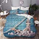 XINGAKA Printed Duvet cover,Nautical Coastal Sea Shell Fishing Net Lighthouse Starfish Ocean Beach...