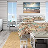 Duvet Cover 3 Piece Set Ultra Soft Microfiber Bedding Set Beach Life Atmosphere with Shells and sea...