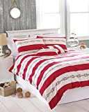 Riva Paoletti Reef King Size Bed Duvet Cover Set - Red Nautical Stripe Design - 2 x Housewife...