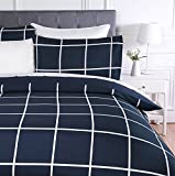 Amazon Basics Microfiber Duvet Cover Set, Light weight – 200 x 200 cm, Double - Navy Simple Plaid