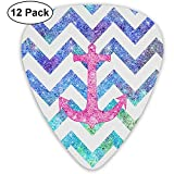 12 Pack Guitar Picks Plectrums Pink Anchor Print Celluloid Guitar Pick Set For Acoustic Electric...