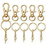Aylifu Lobster Claw Clasps and Key Rings with Chain Set, 25 Pieces Swivel Clasps Lanyard Snap Hook...