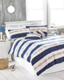 Riva Paoletti Reef Double Bed Duvet Cover Set - Blue Nautical Stripe Design - 2 x Housewife...