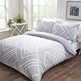 Sleepdown Striped Geometric Grey Reversible Easy Care Duvet Cover Quilt Bedding Set with Pillowcases...