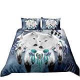 Loussiesd Tribal Duvet Cover Set King Size 3 Pieces 3D Wild Wolf Bedding Set Blue Galaxy Wolf Couple...